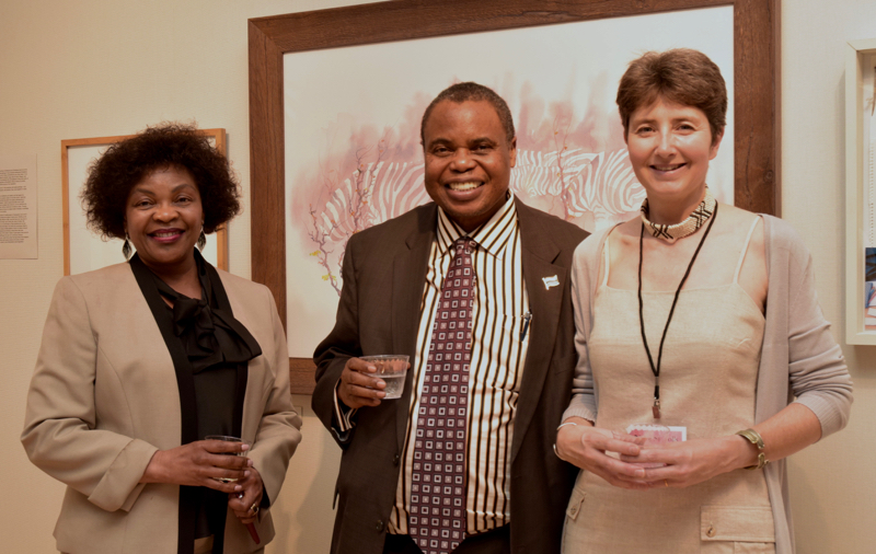 Alison Nicholls with the Un Ambassador from Botswana and his wife