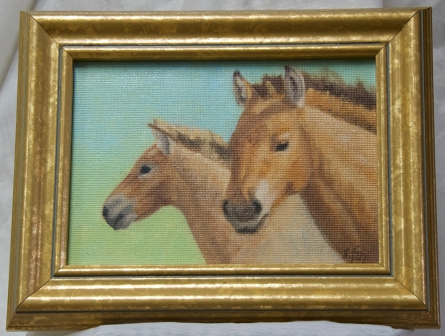 Hustai Takhi Mare and Foal oil 5x7""