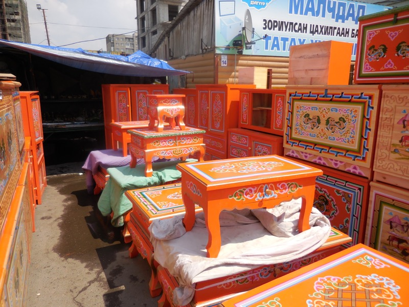 Ger furniture in the traditional orange.
