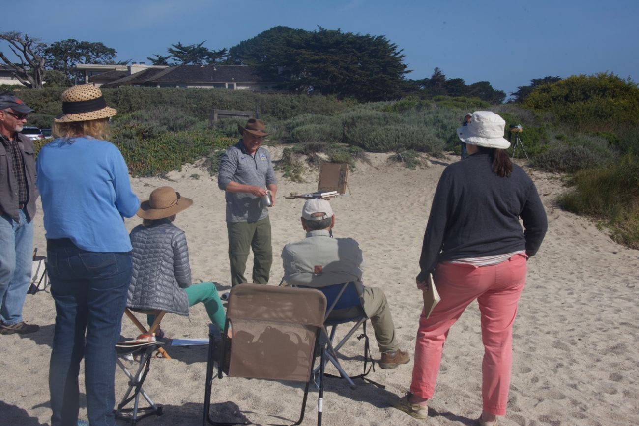 Paul gets the workshop under way with a demo at Carmel River State Beach.