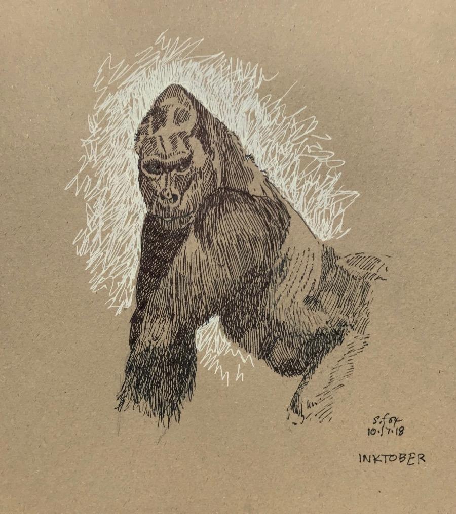"Inktober 13- ""Gorilla"""