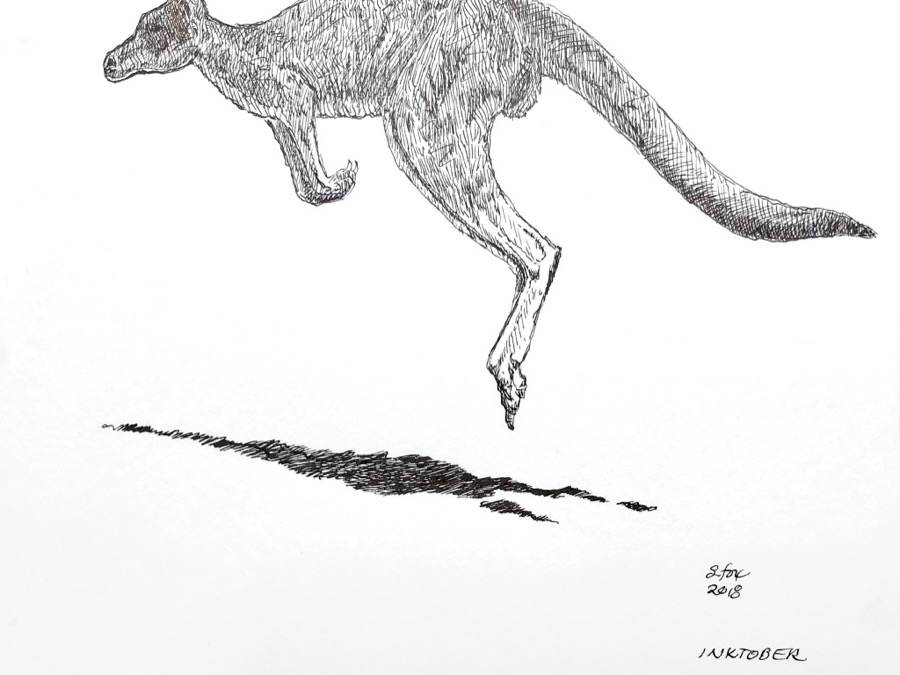 "Inktober 18- ""Kangaroo"" (1)"
