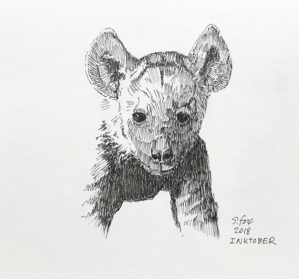 Inktober 8- Baby hyena